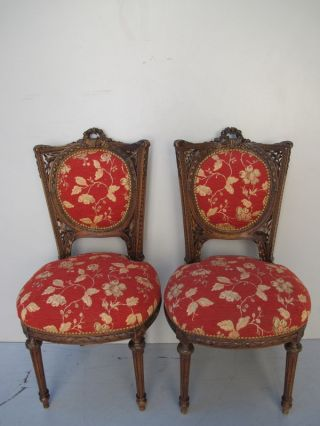 Pair Of French Louis Xvi Carved Mahogany Chairs 08483 photo