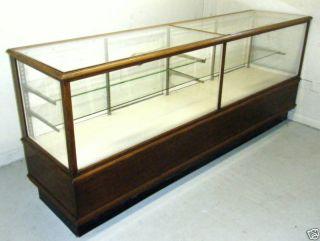 Antique Vintage C1910 Pharmacy 8 Ft Oak Display Cabinet photo