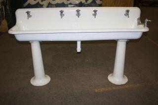 Antique Industrial Porcelain Gang Sink On Pedestal Legs 6 Ft.  Good 4 Restaurant photo