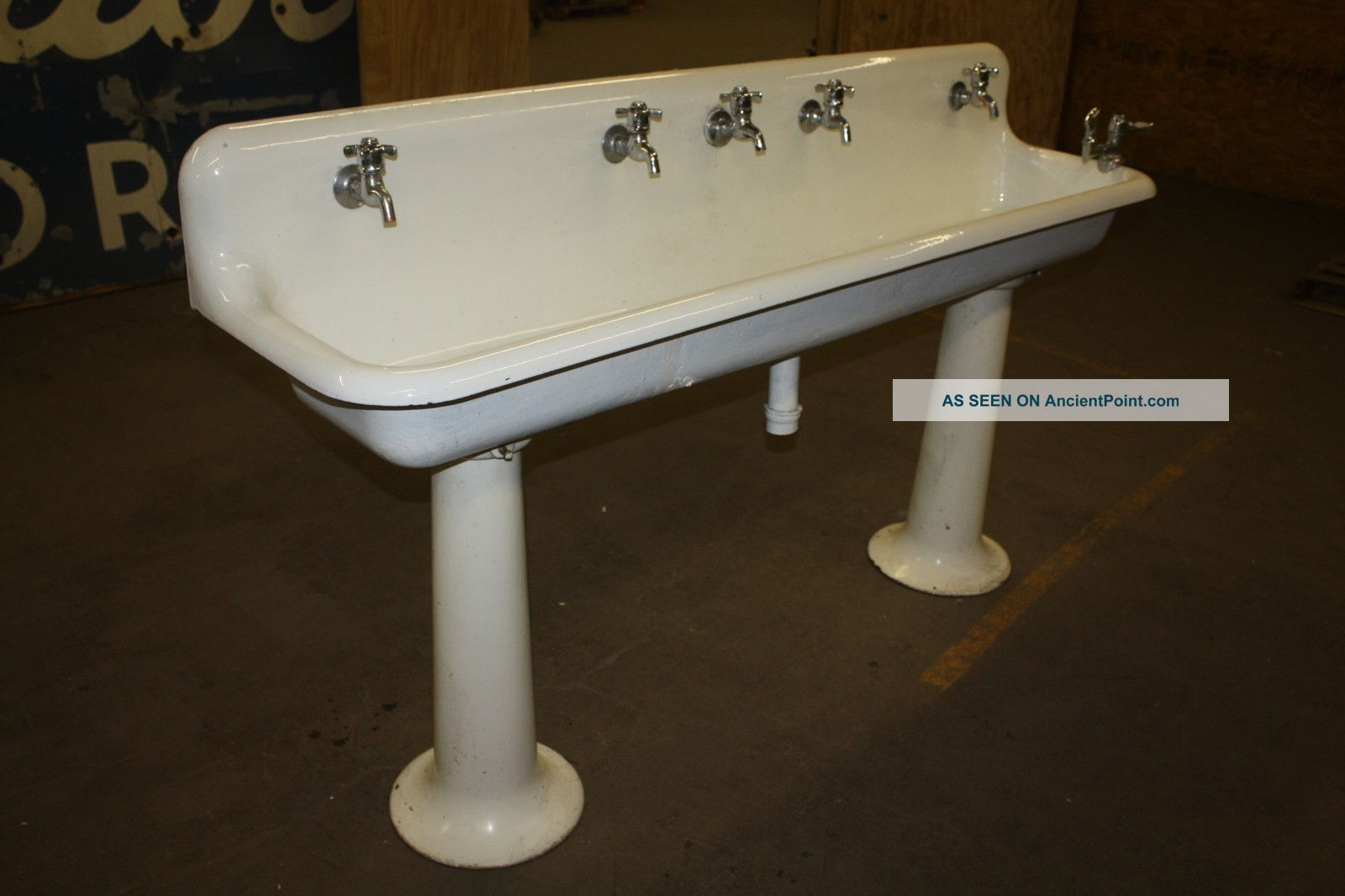 Antique Industrial Porcelain Gang Sink On Pedestal Legs 6 Ft. Good 4 ...