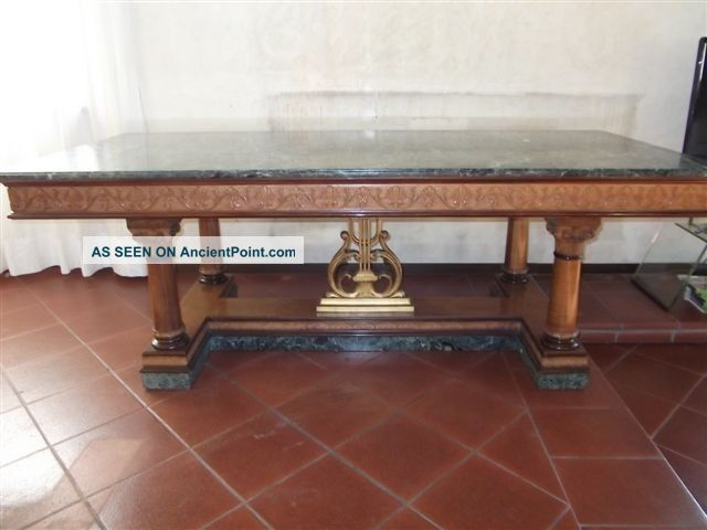 Marble Top Empire Style Italian Antique Dining Table 10it100d 1900-1950 photo