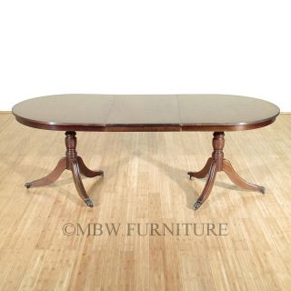 Vintage English Mahogany 7ft Double Pedestal Oval Dining Table C1970's P109a photo