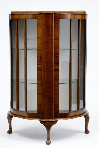 Art Deco Influenced Odeon Walnut Glass Cabinet photo