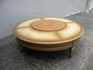 Weiman Round Turntable Leather Top Painted Coffee Table 1951 photo