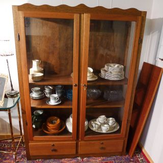 Antique Oak China Cabinet,  Glass Side And Front Panels Key Lock Shelves 64x46x15 photo