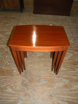 Antique Furniture Set Of 3 Mahogany Nesting Tables Mersman Parlor Accent photo