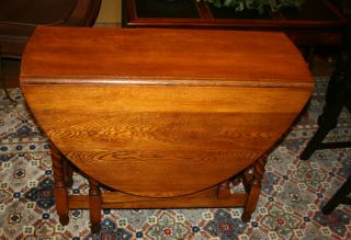 English Antique Barley Twist Drop Leaf Table.  Made From Oak. photo