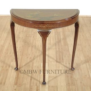 Vintage Walnut Queen Anne Demilune Console Wall Table W/ Chinoiserie C1970s P66 photo