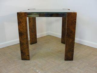 Mid Century Brass Burlwood Lamp End Table photo