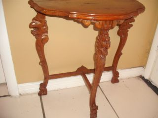 Figural Carved Lions Half Moon Hall Table Circa 1920s photo