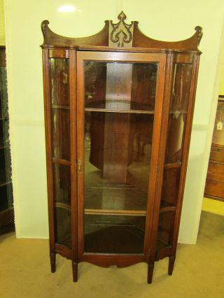Antique Solid Mahogany Corner China Cabinet Restored And Refinished 36