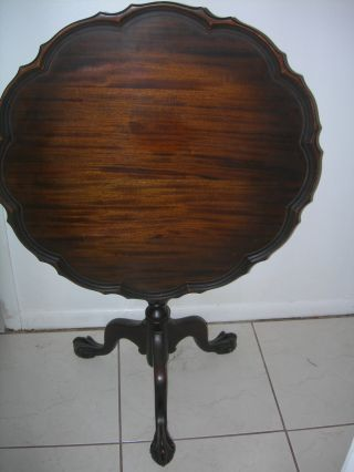 Antique Vintage Imperial End Coffee Lamp Tilt Top Table Mahogany Chippendale photo