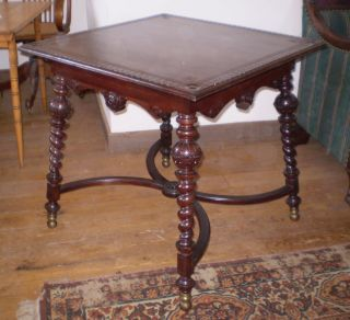 Antique Carved Mahogany Lamp Table With Turned Spiral Legs Circa 1900 ' S photo