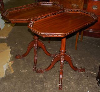 Great Pair Chippendale Mahogany Tables Pierced Carved photo
