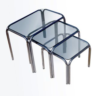 Vintage Chrome And Smoked Glass Nesting Tables photo
