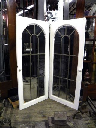 Pair Of Vintage Leaded Glass Palladian Styled Cabinet Doors photo