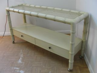 Vintage French Regency Faux Bamboo Sofa Hall Table photo