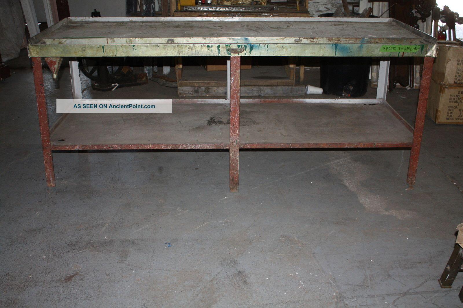 Antique Industrial Work Bench Sink - Monel Or Stainless Steel Top ...