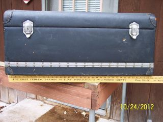 Antique Automobile Luggage Trunk,  Attaches To Rear Of Car,  Fold - Out Front, photo