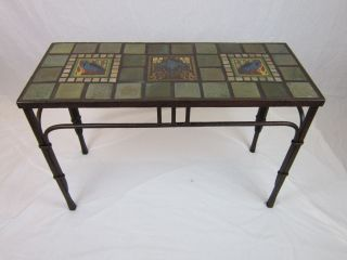 Mission Style Arts U0026 Crafts Raven Tile U0026 Wrought Iron Entry Table Photo