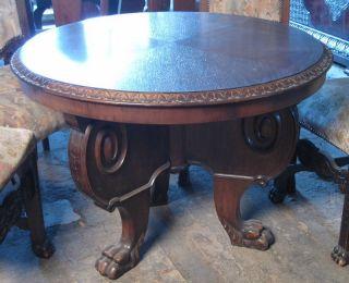 German Oak Antique Classical Round Table 11bl037 photo