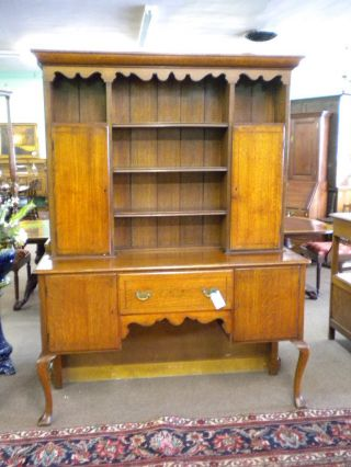 English Oak Banded Pewter Cabinet,  Scalloped Accents,  Ca 1900 Inv 9798b photo