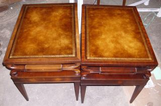 Great Pair Leather Top Mahogany End Tables photo
