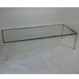 5ft Florence Knoll Style Chrome Glass Coffee Table photo