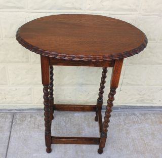 English Antique Pie Crust Barley Twist Side Table.  Made From Oak. photo