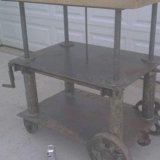Adjustable Vintage Industrial Table Cart Butcher Block photo