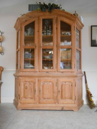 Antique Waxed Pine Solid Wood China Cabinet Made In Germany Hand Crafted photo