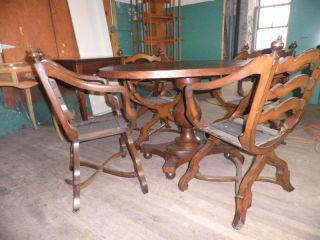 218a Oval Game Table W 4 Chairs Dining Table Table/ch photo