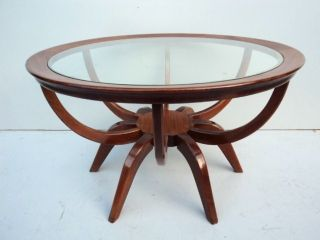 Great Old American ' 60 Mahogany And Glass Coffee Table 07757 photo