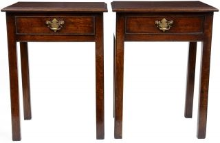 Pair Of Oak Side Tables With One Drawer photo