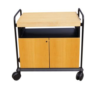 Kitchen Utility Birch Rolling Cart Cabinet With Butcher Block photo