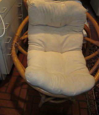 Mid - Century Bamboo Swivel Chair - Hefty photo