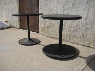 Pair Of Decorator Metal Base Round Top Black End Tables photo
