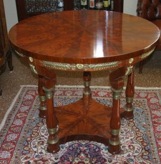 Fine Solid Flame Mahogany Bronze Ormolu Round Center Table Occasional Table photo