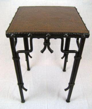California Arts & Crafts Wrought Iron & Copper Table photo