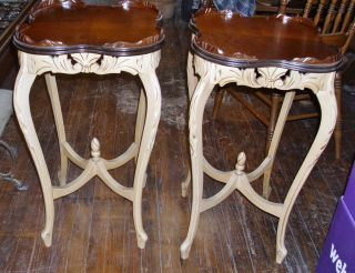 Pair Tall French Walnut Tables photo