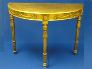Carved Neoclassical Gilt Wood Demi Lune Hall Console Table Italy Mid Century photo
