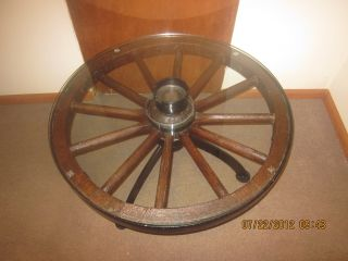Rare Antique Wagon Wheel Table With Glass Top Old Look photo