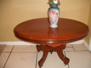 Antique Victorian Side End Coffee Table Ceramic Wheels photo
