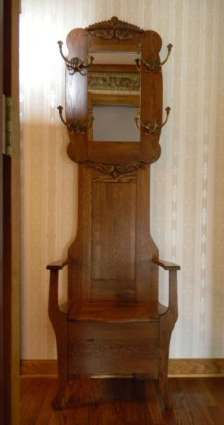Oak 1900 Antique Hall Bench & Mirror,  Coat & Hat Stand photo