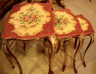3 Hand Painted And Decorated Nesting Tables,  Italy 1930s photo