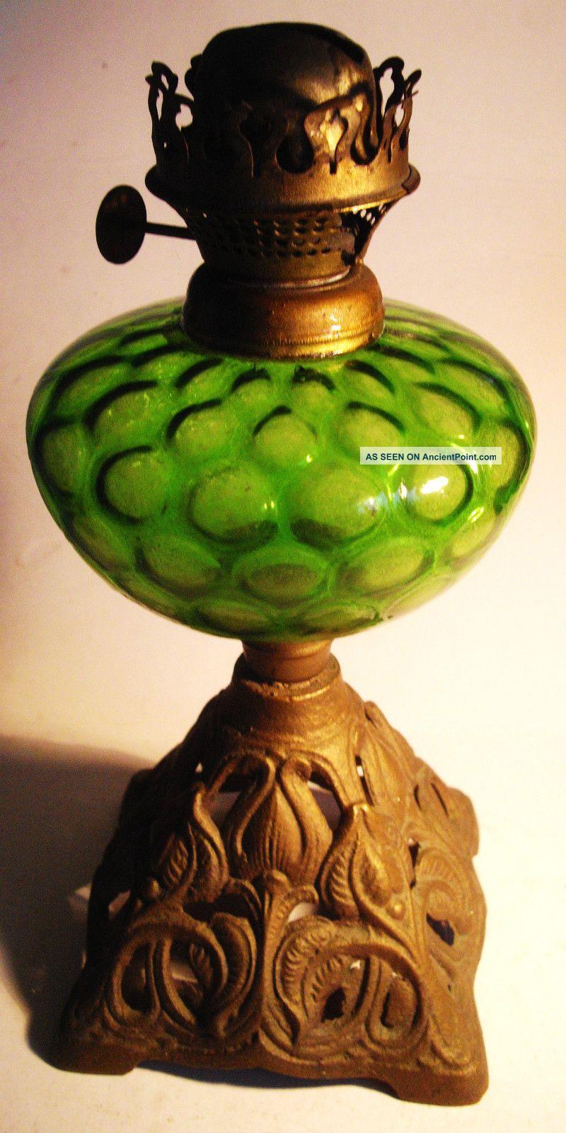 Oil Lamp Base - Stunning Green Colour 20th Century photo