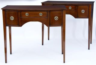 Pair Of Mahogany Bow Front Side Tables photo