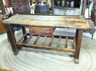 Vintage Workbench Work Table Vises Industrial Factory Mercantile Shop photo