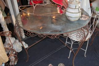 Jonathan Adler Dug This 40s Spanish Revival Peacock Wrought Iron Glass Top Table photo