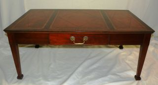 Mahogany Coffee Table,  Embossed Leather Top,  Ca 1930 ' S photo